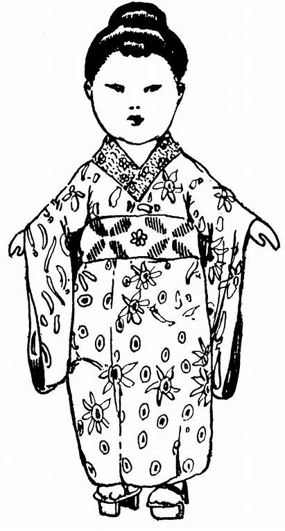 Japanese Clipart Kimono Japan Clip Doll Traditional