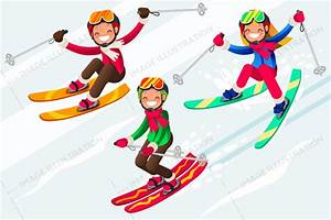 Skiing People Cartoon Characters Skis in Snow - Image ...