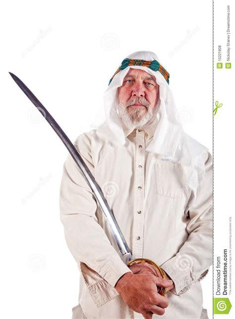 arab man posing   sword royalty  stock