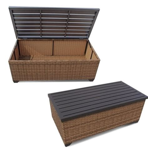 patio coffee table with storage tkc laguna outdoor wicker storage coffee table in caramel