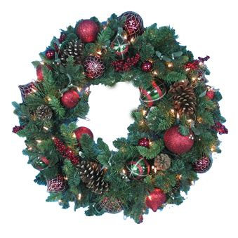 christmas wreath pre lit 32 quot decorated artificial