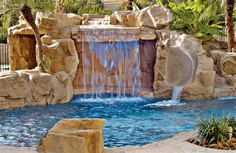 Water Features Swimming Pool Waterfalls And Fountains