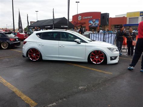 bentley forgiato seat leon 5f lowrider with red bentley wheels resides in