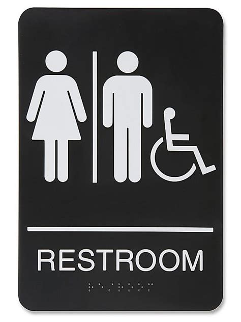 plastic accessible restroom sign unisex black  bl