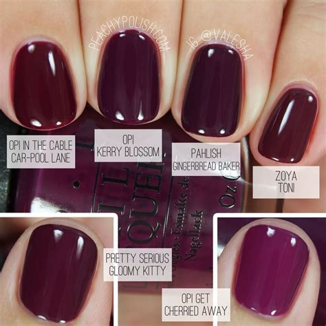 comparison  fall berry nail colors fall nails
