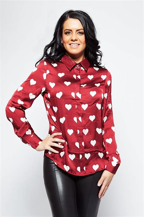 burgundy red white satin heart blouse shirt  leather