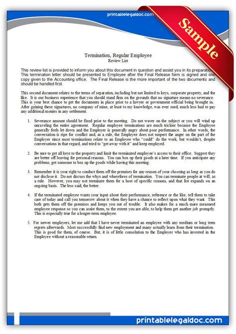 printable termination regular employee form generic