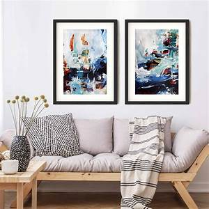 Set, Of, Two, Prints, Large, Blue, Abstract, Framed, Wall, Art, By, Abstract, House