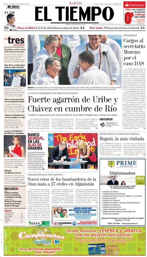 journal el tiempo colombie les unes des journaux de