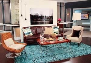 Le style hippie chic dans le salon 55 idees fraiches for Tapis ethnique avec faire teindre un canapé en cuir