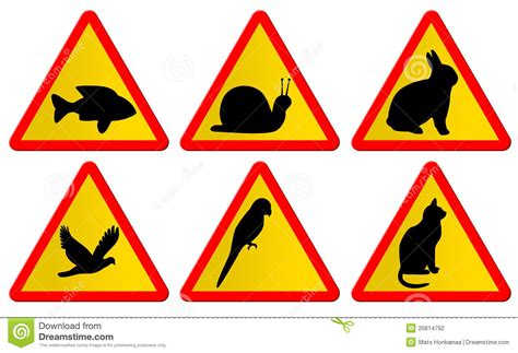 Animal Traffic Signs Stock Illustration. Illustration Of