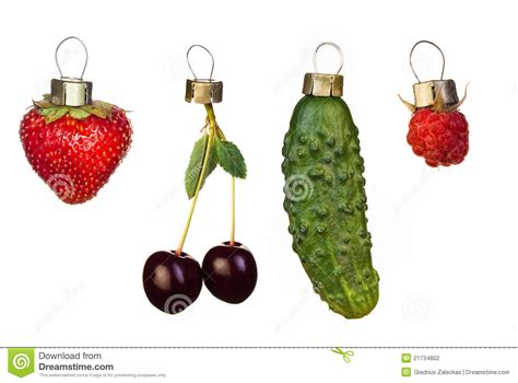 christmas tree decorations from fruits stock photography