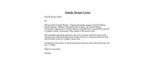 Company Merger Letter To Customers Template by Sle Merger Letter Business Letter Exles