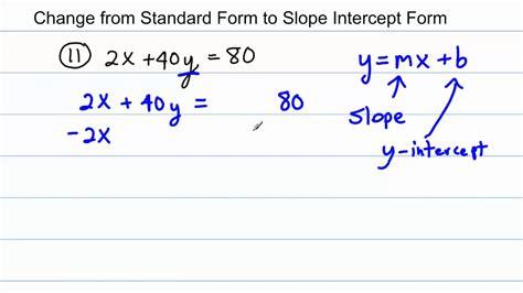 algebra change from standard form to slope intercept