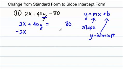 Algebra  Change From Standard Form To Slope Intercept Form (4 Worked Problems) Youtube