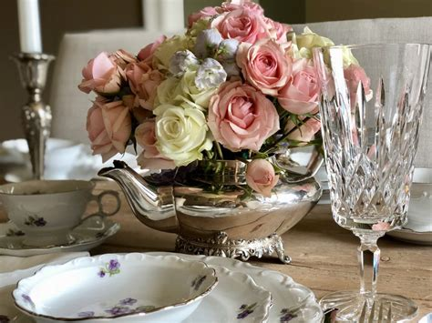 silver teapot flower arrangement step  step diy guide