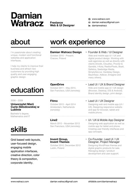 resume  nice layout easy  read font cv graphic