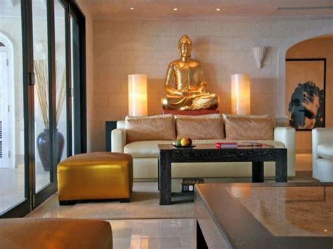 elegant zen living room  gold buddha statue decor