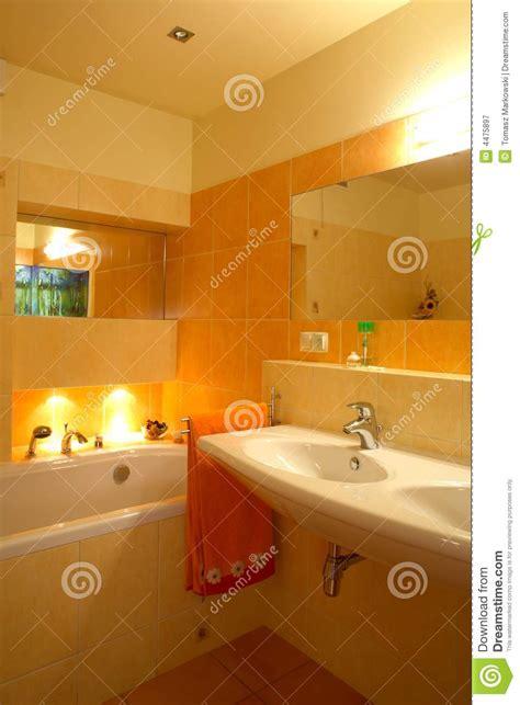 orange bathroom stock image image  wall interior