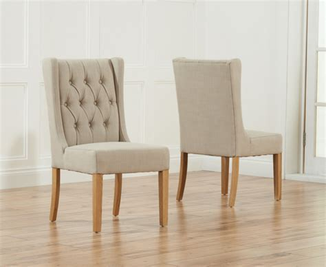Dining Chair Upholstery Material by Safia Beige Fabric Oak Leg Dining Chairs Pair The