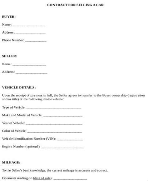 car sale contract sample  examples  word
