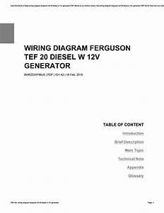 Wiring Diagram Ferguson Tef 20 Diesel W 12v Generator By