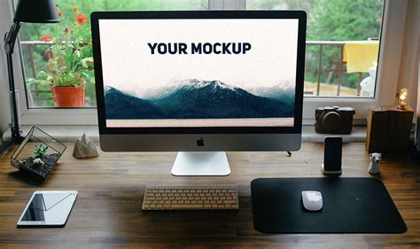 computer psd templates download realistic imac free psd mockup template download