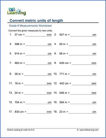 Grade 6 Math Worksheet  Measurement Convert Metric Lengths  K5 Learning