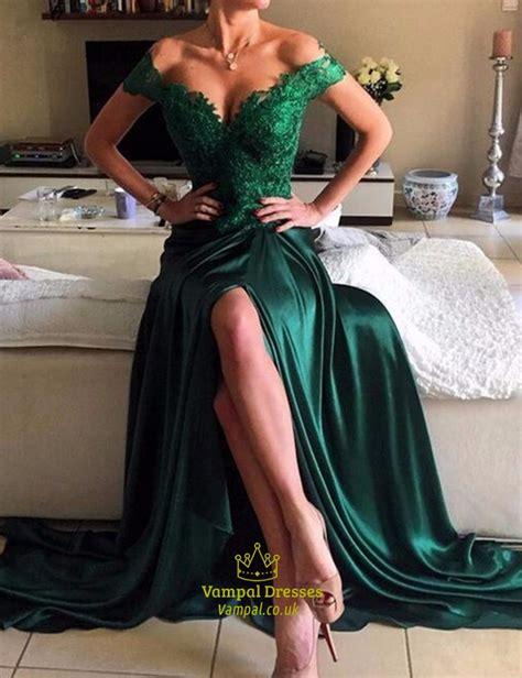 emerald green   shoulder  neck lace top side slit formal dress vampal dresses