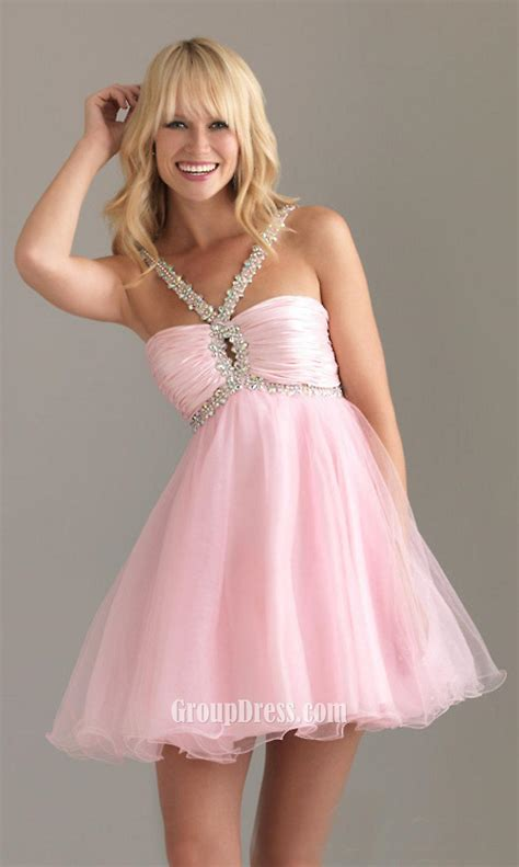 pink dress pink beaded straps sleeveless a line empire ruched
