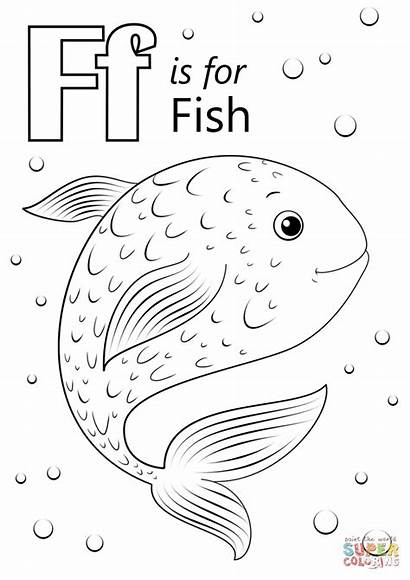 Letter Coloring Fish Printable Preschool Colorear Animados