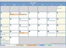 July 2017 Calendar With Holidays 2017 calendar with holidays