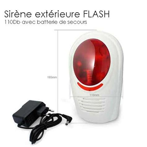 sirene alarme exterieure avec flash completer mon alarme sans fil
