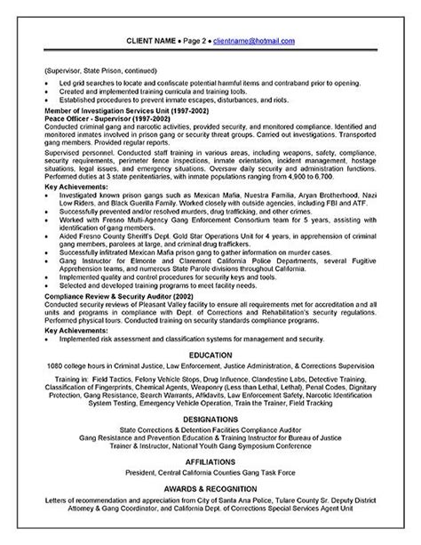 basic resume outline objective corrections officer resume exle