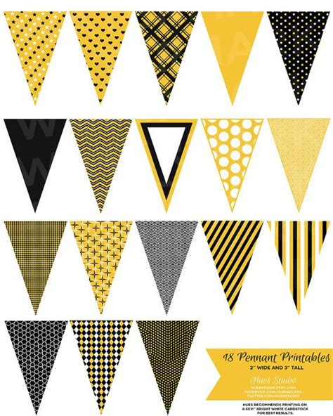 18 YELLOW/GOLD Black and White Pennant Banner Printables! $3.50 Print them, cut them out and