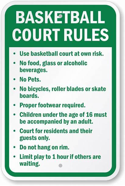 Basketball Rules Court Sign Signs Pets Risk