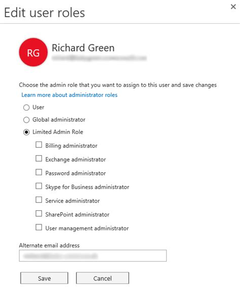Office 365 Roles by Office 365 Limited Administration Roles Richard J Green