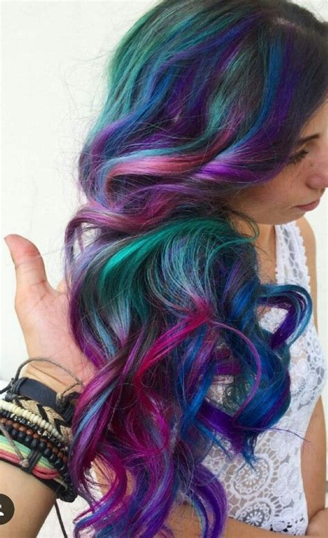 Purple Green Blue Dark Rainbow Dyed Hair Inspiration