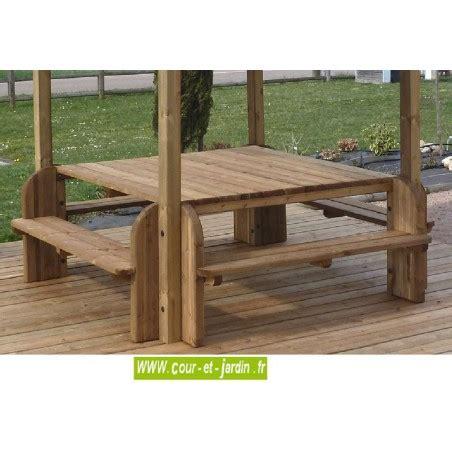 Table Piquenique Bois, Table De Jardin, Bois, Avec Banc