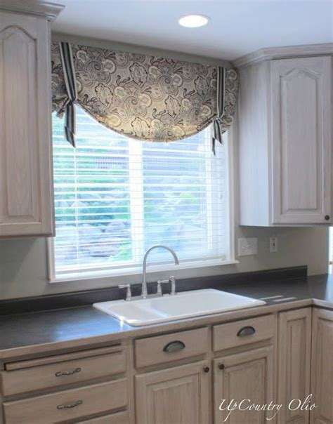 Large Kitchen Window Treatment Ideas by Kitchen Window Treatments And A Half Of Fabric Was All