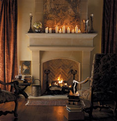 Normandy Cast Stone Fireplace Mantel   Traditional