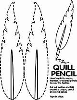 Quill Pencil Coloring Pages Colonial Presidents Crayola Feather Activities America Preschool Kindergarten Print Word Pencils Potter Harry Teaching Colored Mw sketch template