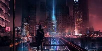 Cyberpunk Cyber Futuristic Silhouette Skyscraper Skyline Night