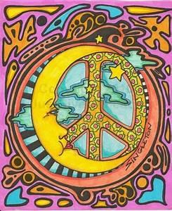 Psychedelic moon, 1960s in 2019 | Peace art, Hippie art ...