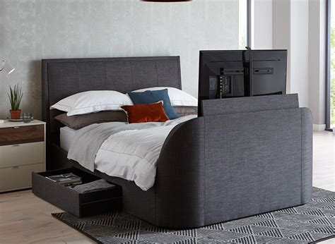 Alexander Slate Fabric Tv & Sound Bed Frame Dreams