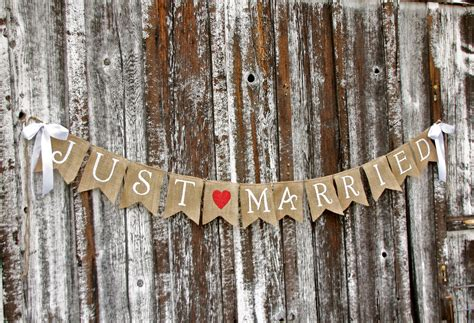 Wedding Banner by Just Married Burlap Banner Wedding Banner By Butterflyabove