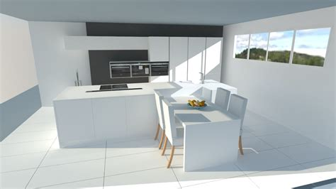 Très belle cuisine blanche sans poignées avec îlot