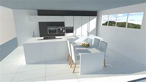 Tres belle cuisine blanche sans poignees avec ilot for Petite cuisine équipée avec meuble de rangement salle a manger pas cher