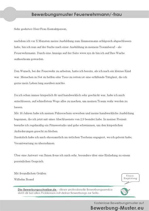 bewerbungsmuster feuerwehrmann kostenlose word vorlage