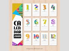 2018 calendar with colored geometric shapes Vector Free